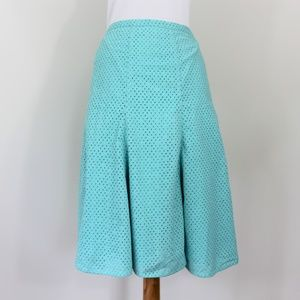 New Harolds Eyelet Bottom Pleat Knee Skirt Blue 10